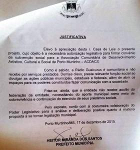 Rádio Comunitária recebe ajuda econômica da prefeitura em Porto Murtinho