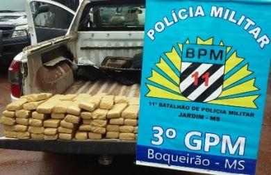 Polícia Militar apreende 76 Kg de maconha na BR-060 próximo a Jardim