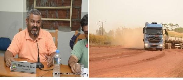 Vereador Hemerson Buiu pede caminhão Pipa para molhar Rota dos Caminhões