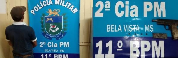 Polícia Militar de Bela Vista apreende pistola de uso restrito