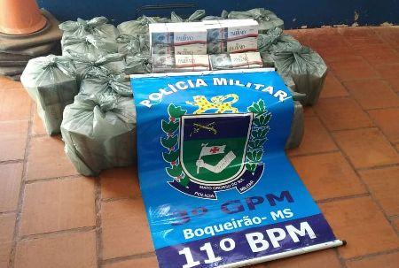 Polícia Militar do distrito de Boqueirão apreende 245 pacotes de cigarros durante abordagem