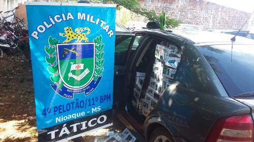 Força Tática da Polícia Militar de Nioaque apreende 2124 maços de cigarros durante abordagem