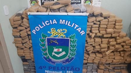 Polícia Militar de Nioaque apreende mais de meia tonelada de maconha e recupera veículo furtado