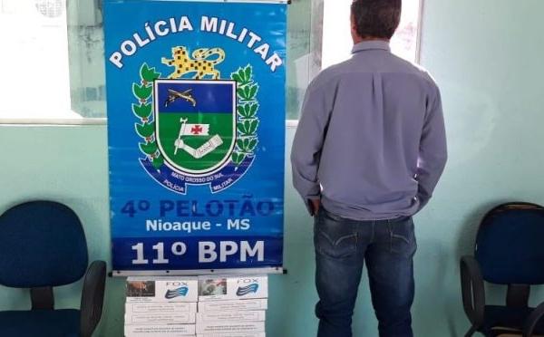 Polícia Militar apreende 35 pacotes de cigarros contrabandeados em Nioaque