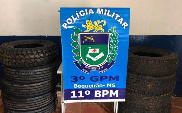 Polícia Militar apreende pneus contrabandeados durante abordagem no distrito de Boqueirão