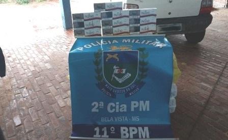 Polícia Militar em Bela Vista apreende 250 pacotes de cigarros contrabandeados