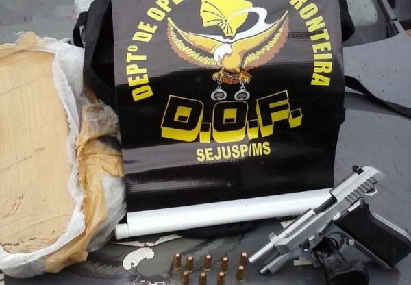 DOF apreende arma, munição e droga na Fronteira com o Paraguai